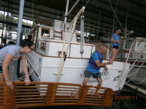 ...then, with much preparation, they swung that heavy platform over the water...