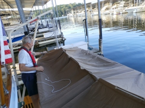 putting cover on dinghy